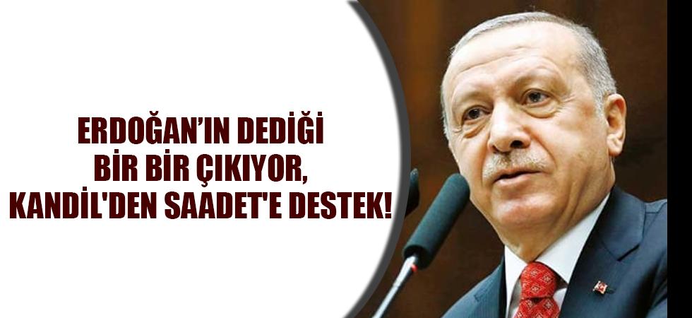 Erdoğan'ın dediği bir bir çıkıyor, Kandil'den Saadet'e destek!