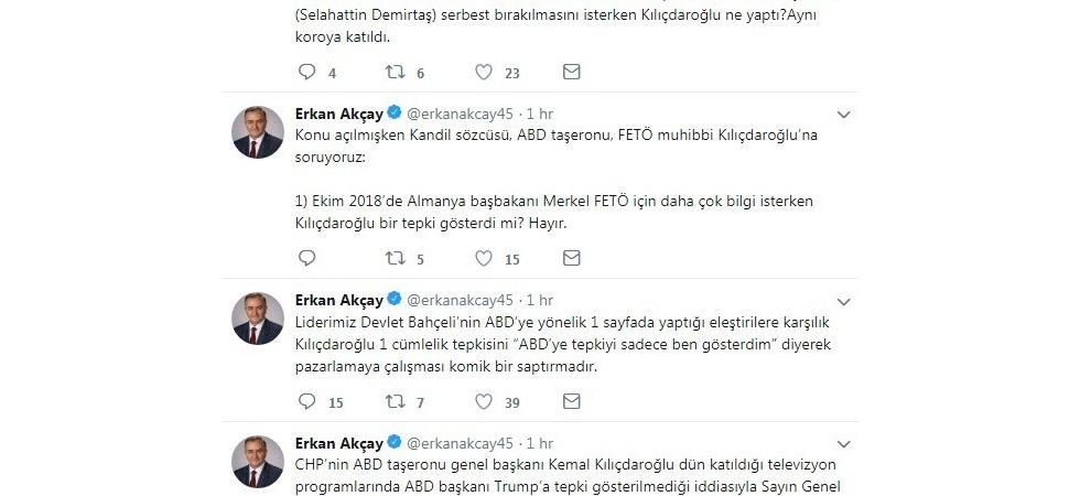 MHP'li Akçay'dan sosyal medya üzerinden Kılıçdaroğlu'na eleştiri