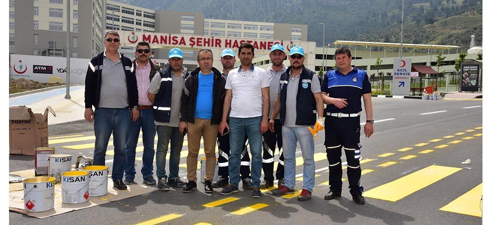Manisa Şehir Hastanesi'nin yol çizgileri yapıldı