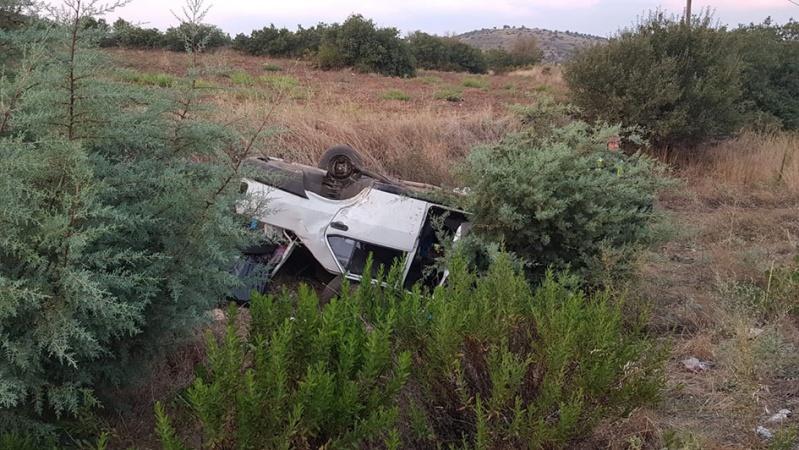 Ters dönen araçtan sağ çıktılar: 4 yaralı