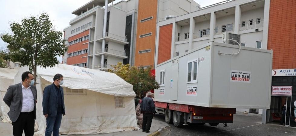 Akhisar Belediyesi'nden korona virüs tespit merkezine konteyner desteği