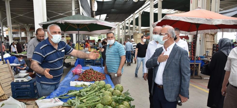 Başkan Kayda kısıtlamada açılan pazaryerlerini denetledi