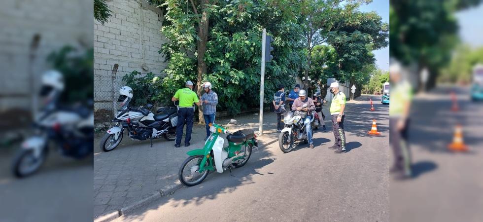 Salihli'de motosiklet sürücülerine sıkı denetim