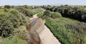 Gediz Nehri kuruma noktasına geldi, kum adacıkları oluştu