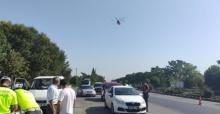Manisa'da jandarma ve emniyetten helikopter destekli denetim
